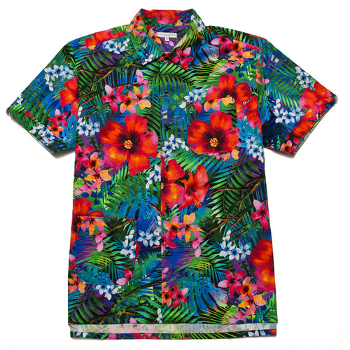 Engineered Garments Camp Shirt Royal Big Tropical Floral Print shoplostfound, front
