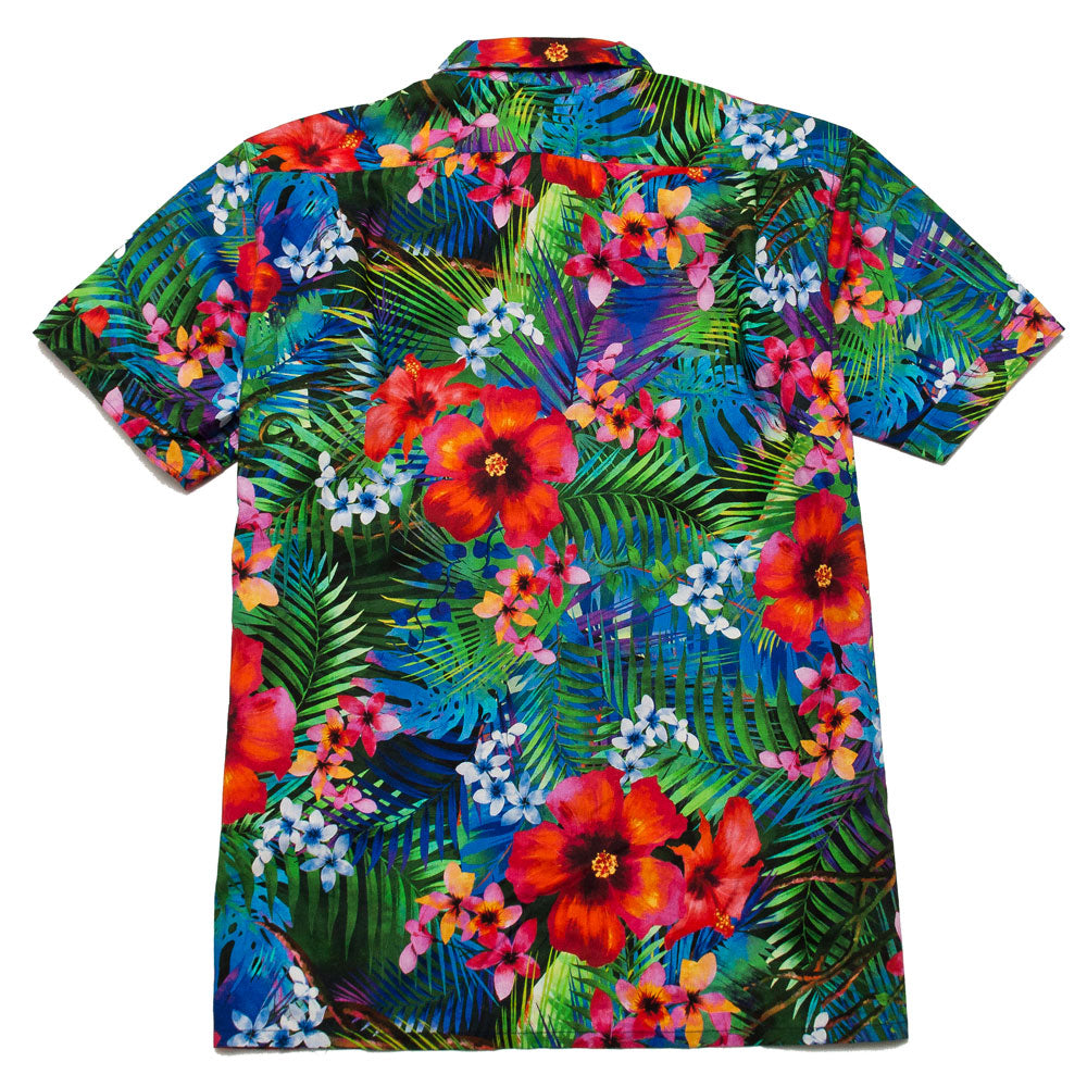 Engineered Garments Camp Shirt Royal Big Tropical Floral Print shoplostfound, back