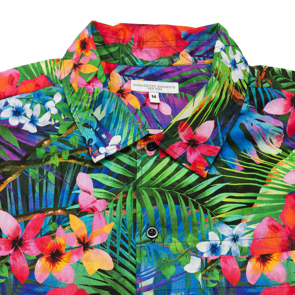 Engineered Garments Camp Shirt Royal Big Tropical Floral Print shoplostfound, neck