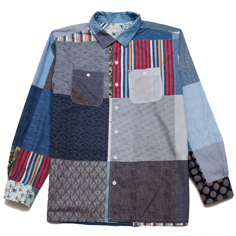 Engineered Garments Classic Shirt Multi Random Square Patchwork Print shoplostfound 1