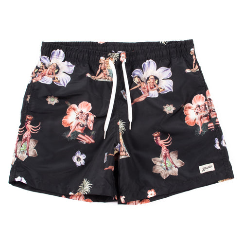 Bather Black Hula Girl Swim Trunk
