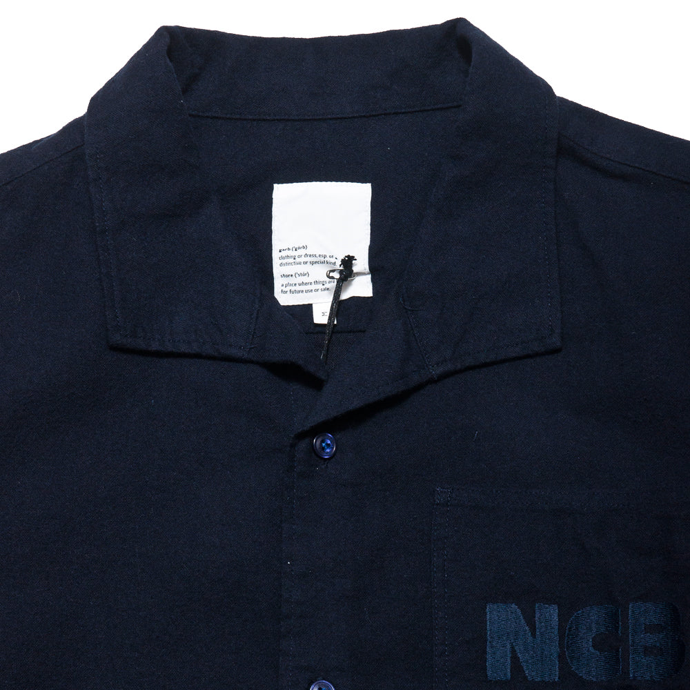Garbstore NCB Slacker Shirt Navy at shoplostfound, neck