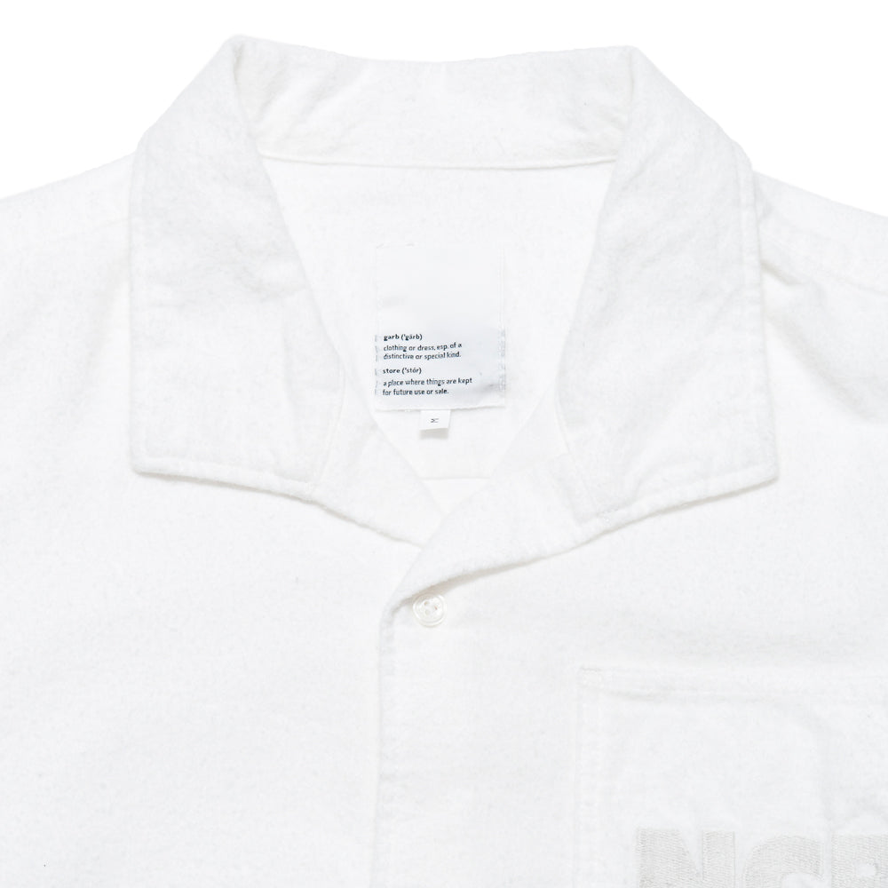 Garbstore NCB Slacker Shirt White at shoplostfound, neck