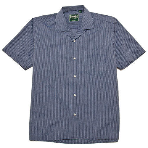 Gitman Vintage Bros. Cotton/Poly 2-Tone Seersucker Camp Shirt Blue shoplostfound 1