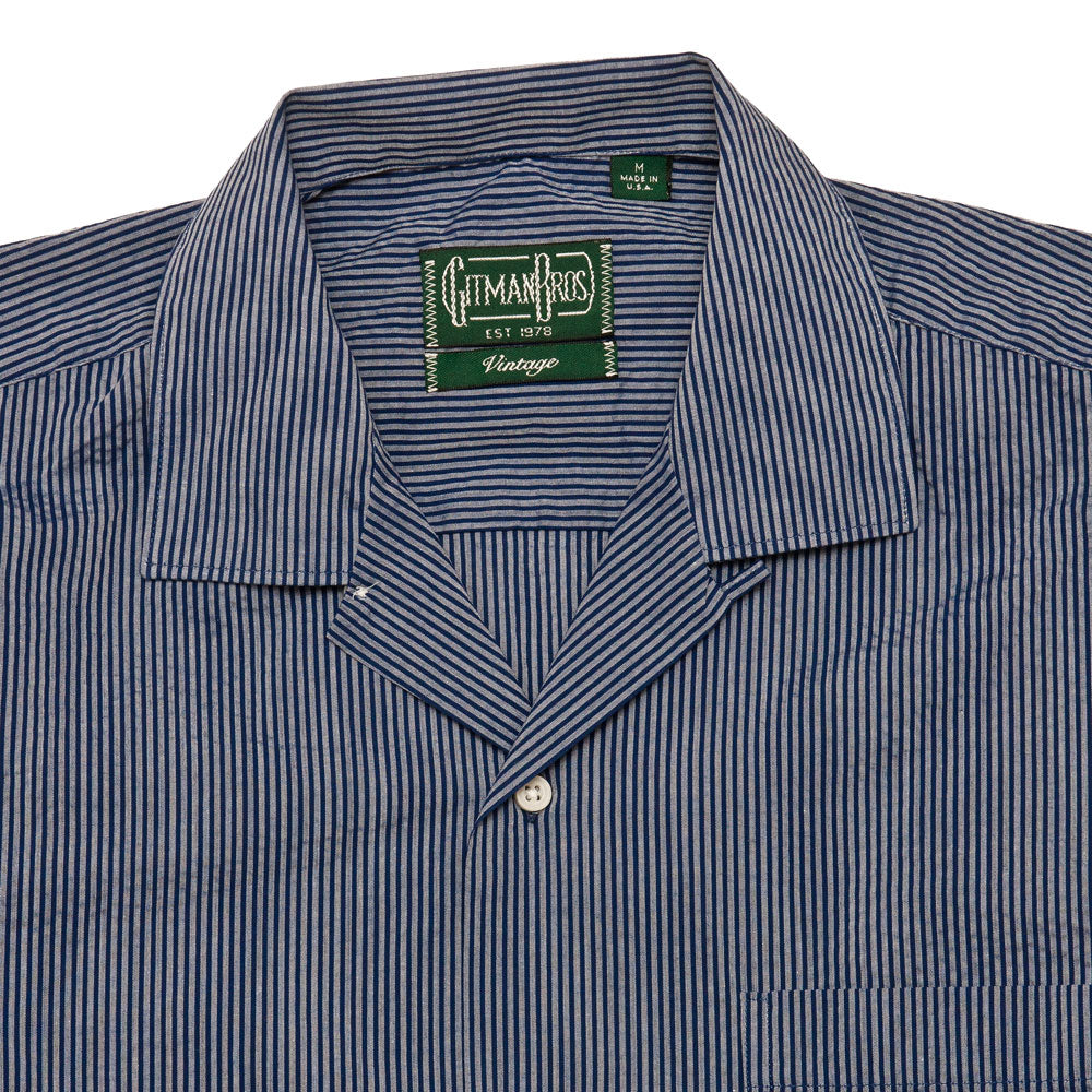 Gitman Vintage Bros. Cotton/Poly 2-Tone Seersucker Camp Shirt Blue shoplostfound 3