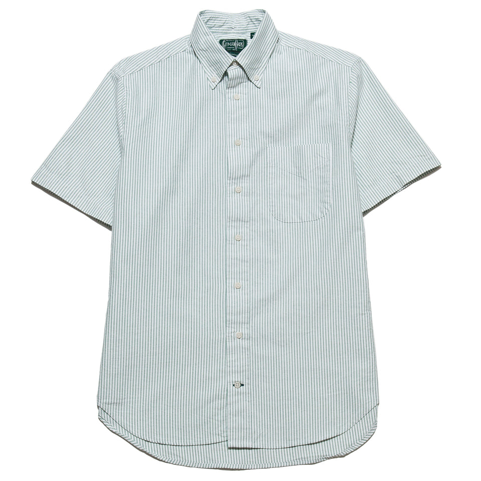 Gitman Vintage Bros. Short Sleeve Green Stripe Oxford shoplostfound 1