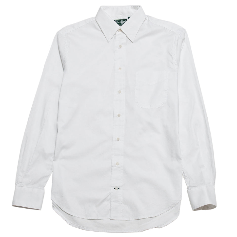 Gitman Vintage Bros. Hidden White Zephyr Oxford Shirt at shoplostfound, front