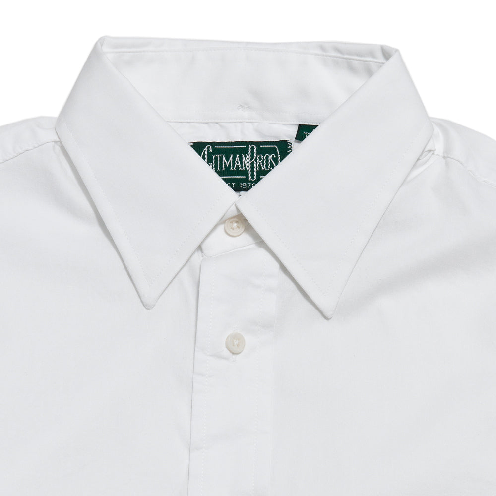 Gitman Vintage Bros. Hidden White Zephyr Oxford Shirt at shoplostfound, neck