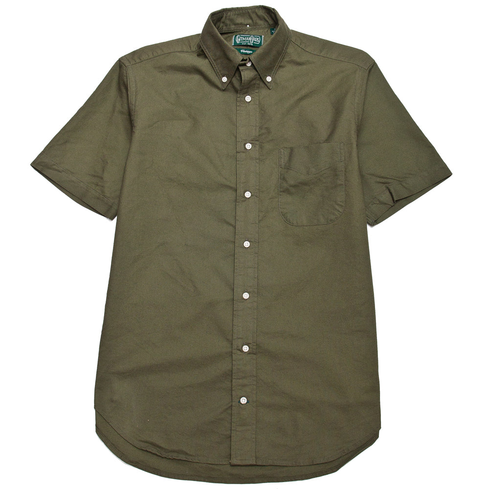 Gitman Vintage Bros. Olive Overdye Oxford SS Shirt at shoplostfound, front