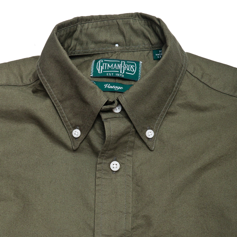 Gitman Vintage Bros. Olive Overdye Oxford SS Shirt at shoplostfound, neck
