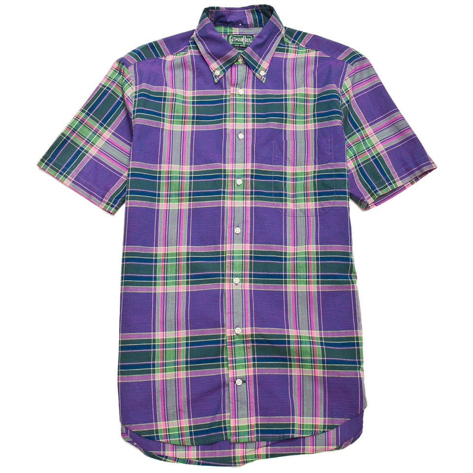 Gitman Vintage Bros. Purple Archive Madras Shirt at shoplostfound, front