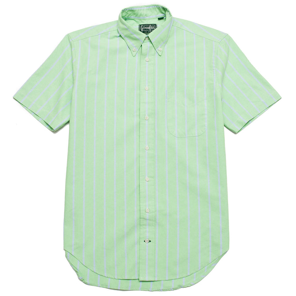 Gitman Vintage Bros. Short Sleeve American Neon Oxford Stripe Green shoplostfound 1