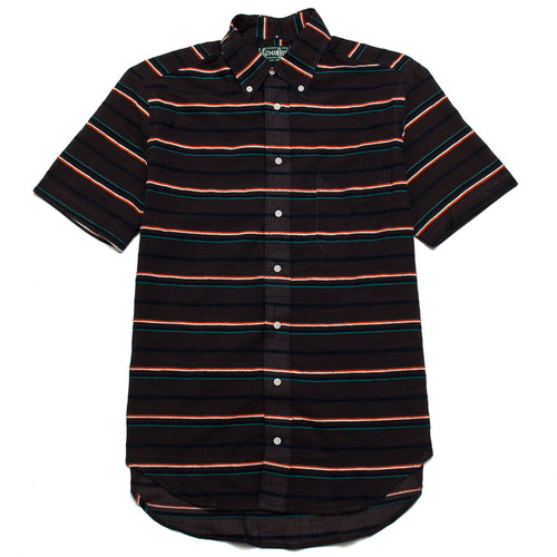 Gitman Vintage Bros. Short Sleeve Terry-Cloth Border Barre Shirt Brown shoplostfound 1