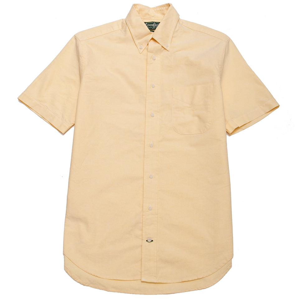 Gitman Vintage Bros. Yellow Overdye Oxford SS Shirt at shoplostfound, front