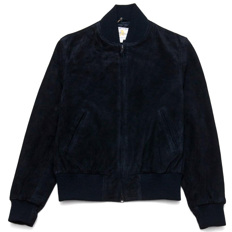 Golden Bear Navy Goat Suede Baseball Jacket at shoplostfound, front