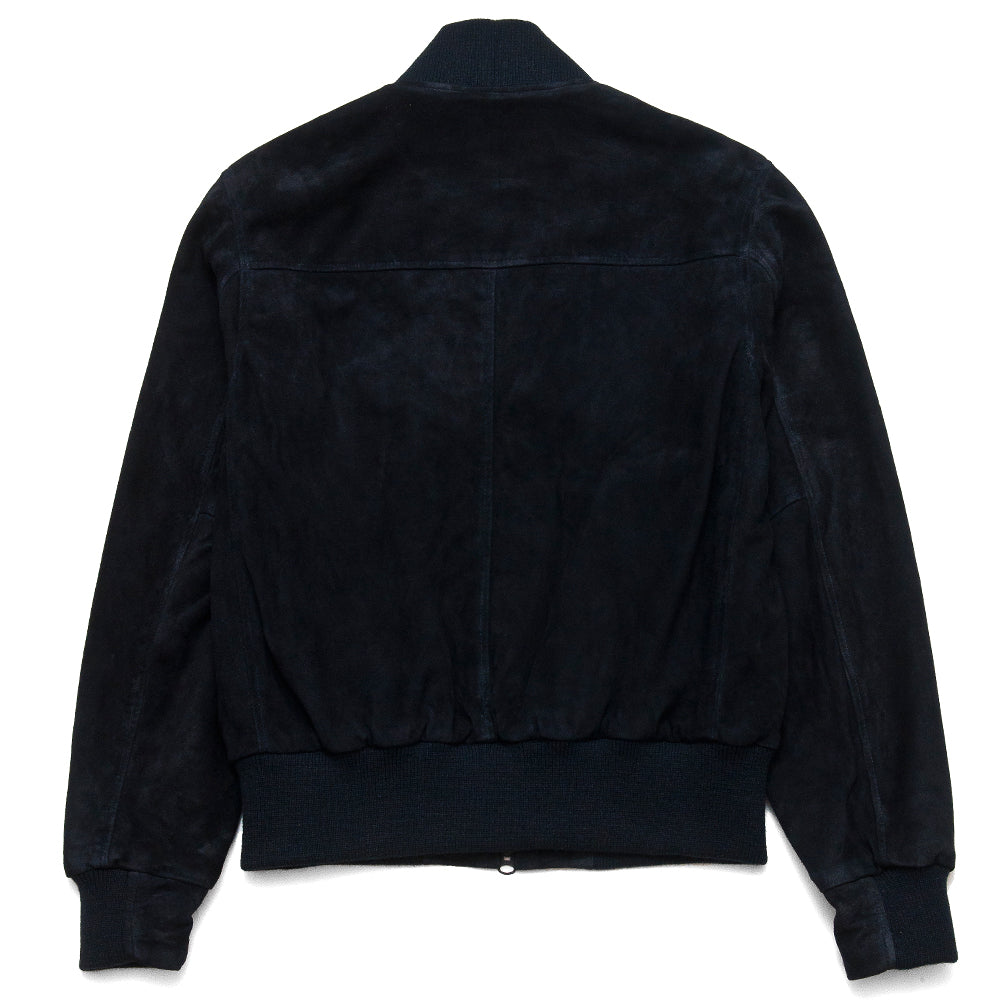 Golden Bear Navy Goat Suede Baseball Jacket at shoplostfound, back