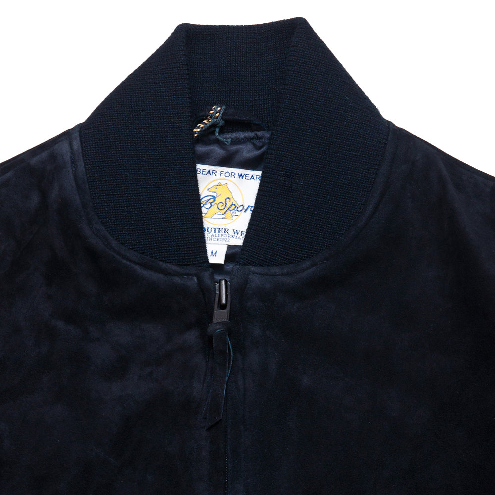 Golden Bear Navy Goat Suede Baseball Jacket at shoplostfound, neck