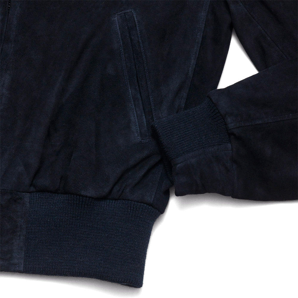 Golden Bear Navy Goat Suede Baseball Jacket at shoplostfound, cuff