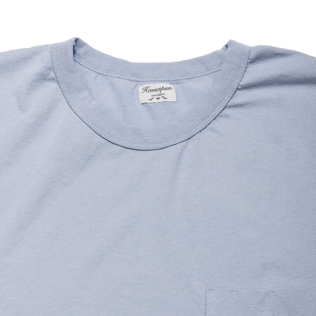 Homespun Dad's Pocket Tee Washed Blue at shoplostfound, neck