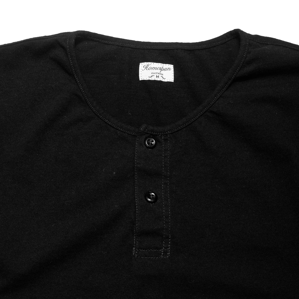 Homespun Great Plains Short Sleeve Black at shoplostfound, neck