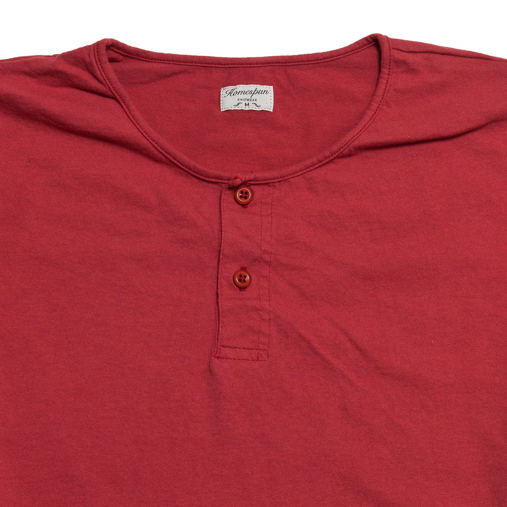 Homespun Great Plains Short Sleeve Red at shoplostfound, neck