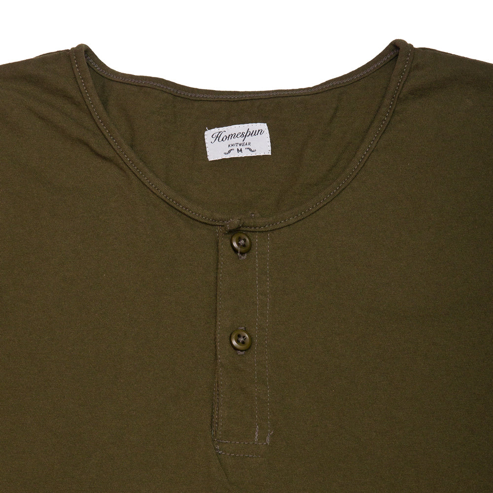 Homespun Great Plains Tee Tennessee Jersey Olive at shoplostfound, neck