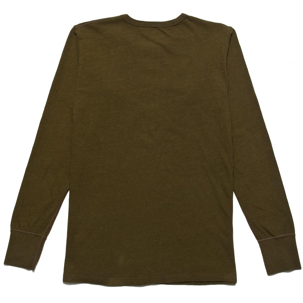 Homespun Long Sleeve Surplus Henley Zimbabwe Jersey Olive at shoplostfound, back