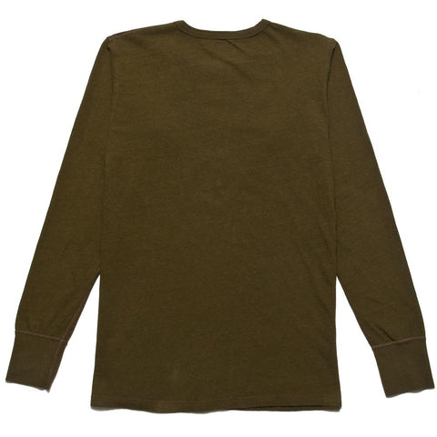 Homespun Long Sleeve Surplus Henley Zimbabwe Jersey Olive at shoplostfound, front
