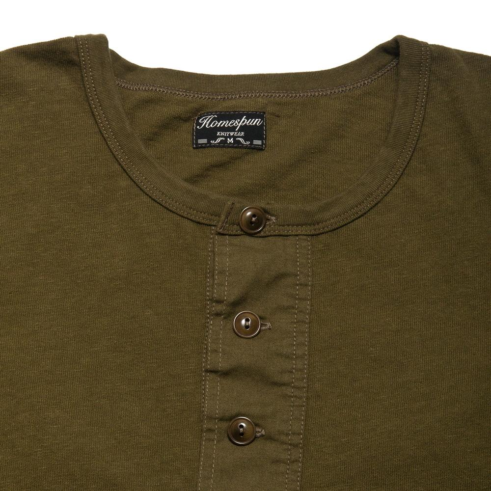 Homespun Long Sleeve Surplus Henley Zimbabwe Jersey Olive at shoplostfound, neck