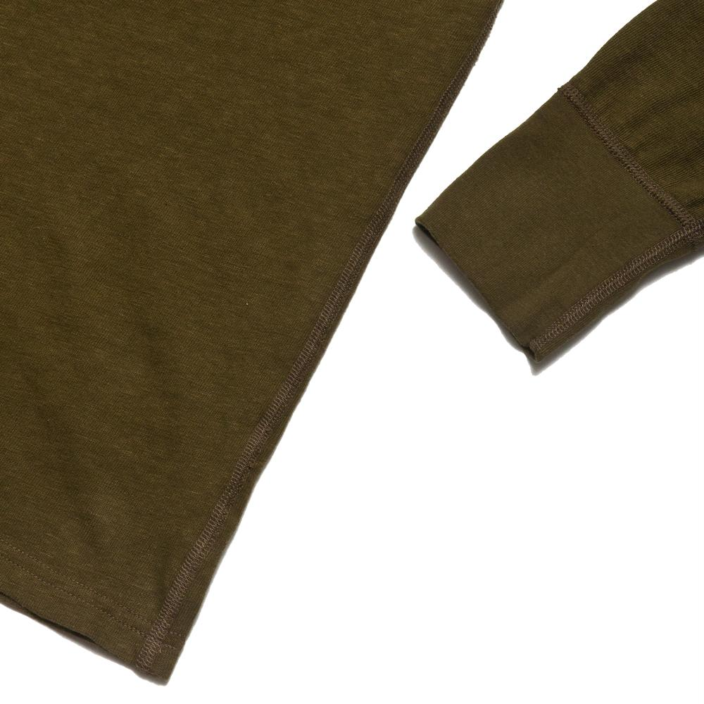 Homespun Long Sleeve Surplus Henley Zimbabwe Jersey Olive at shoplostfound, cuff