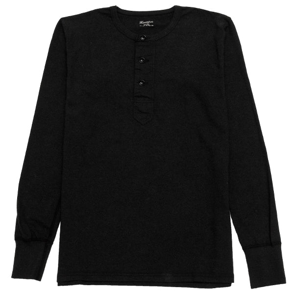 Homespun Long Sleeve Surplus Henley Zimbabwe Jersey in Aged Black at shoplostfound, front