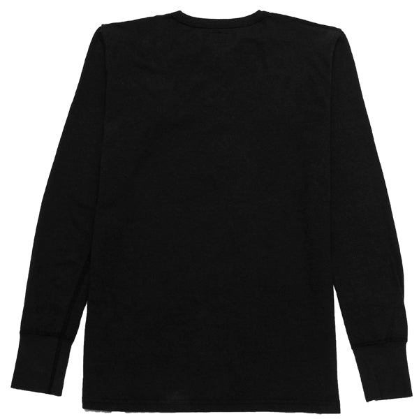 Homespun Long Sleeve Surplus Henley Zimbabwe Jersey in Aged Black at shoplostfound, back