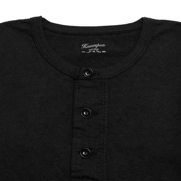 Homespun Long Sleeve Surplus Henley Zimbabwe Jersey in Aged Black at shoplostfound, neck