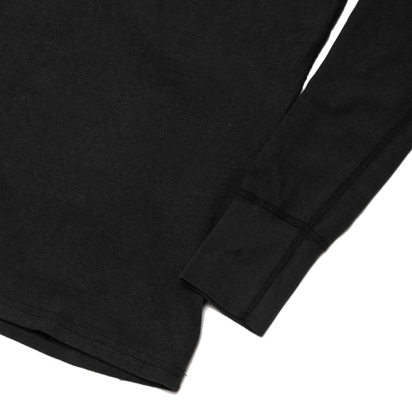 Homespun Long Sleeve Surplus Henley Zimbabwe Jersey in Aged Black at shoplostfound, cuff