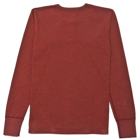 Homespun Long Sleeve Surplus Henley Zimbabwe Jersey Oxblood at shoplostfound, front