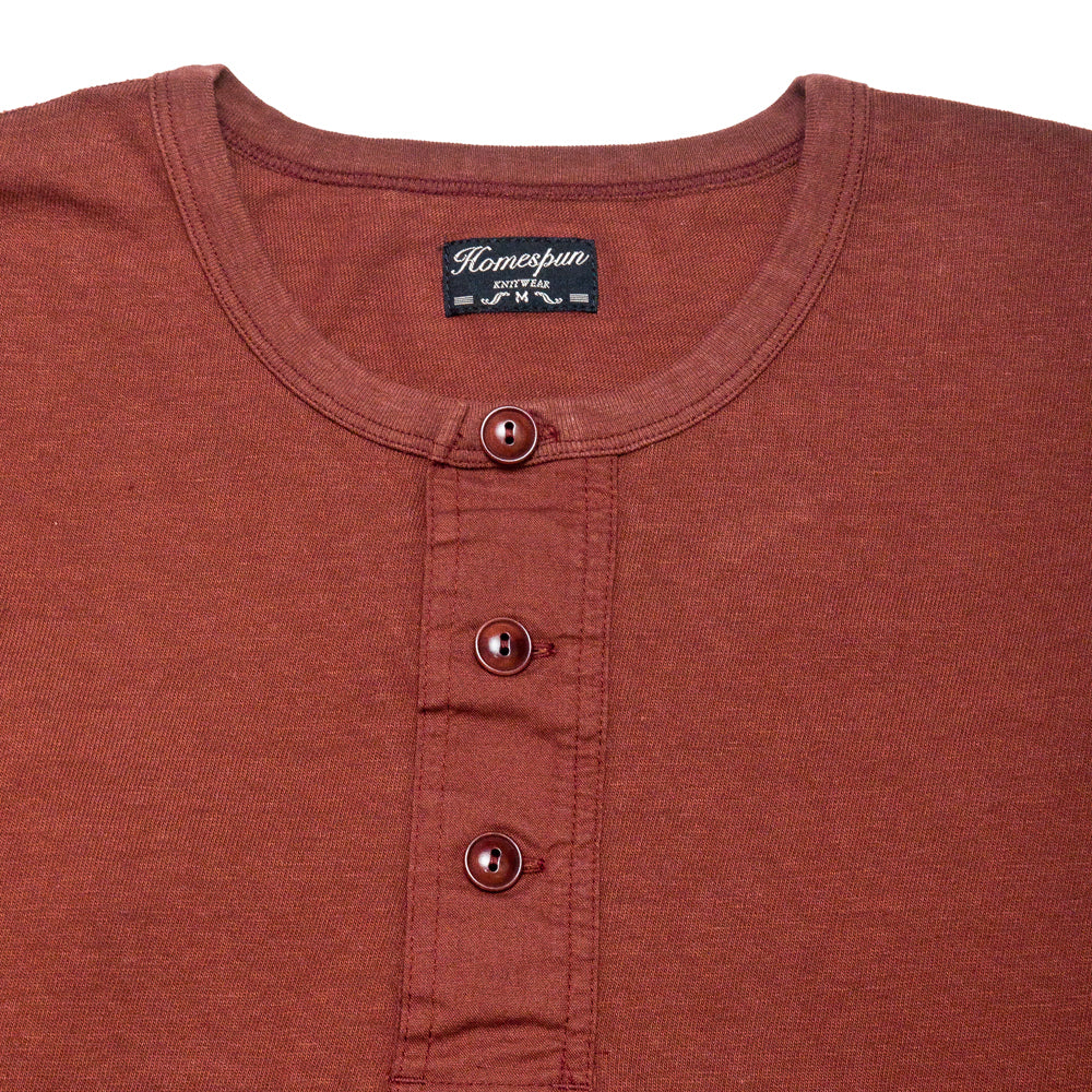 Homespun Long Sleeve Surplus Henley Zimbabwe Jersey Oxblood at shoplostfound, neck