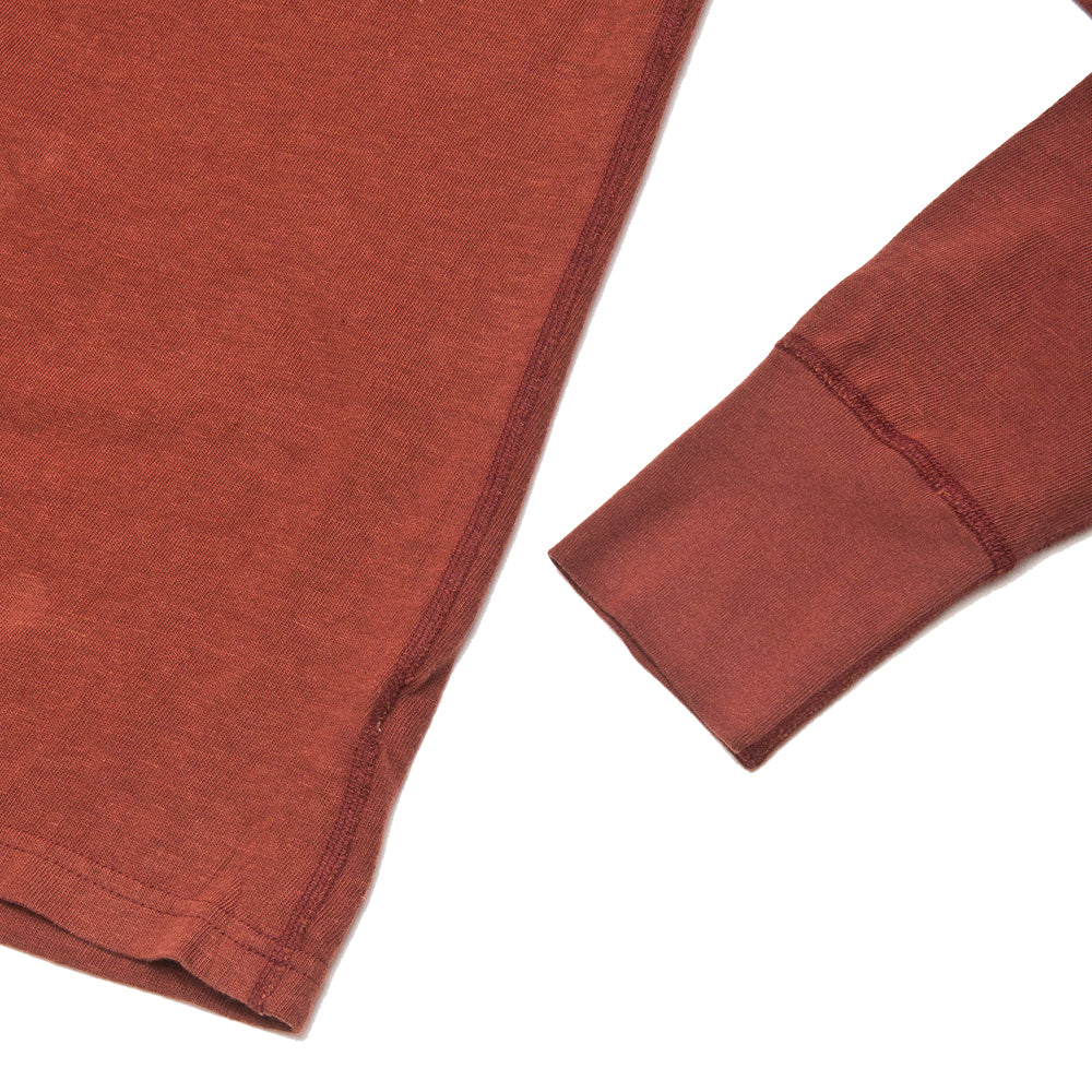 Homespun Long Sleeve Surplus Henley Zimbabwe Jersey Oxblood at shoplostfound, cuff