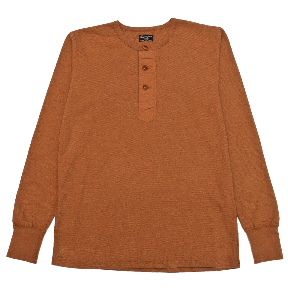 Homespun Long Sleeve Surplus Henley Zimbabwe Jersey Tobacco at shoplostfound, front
