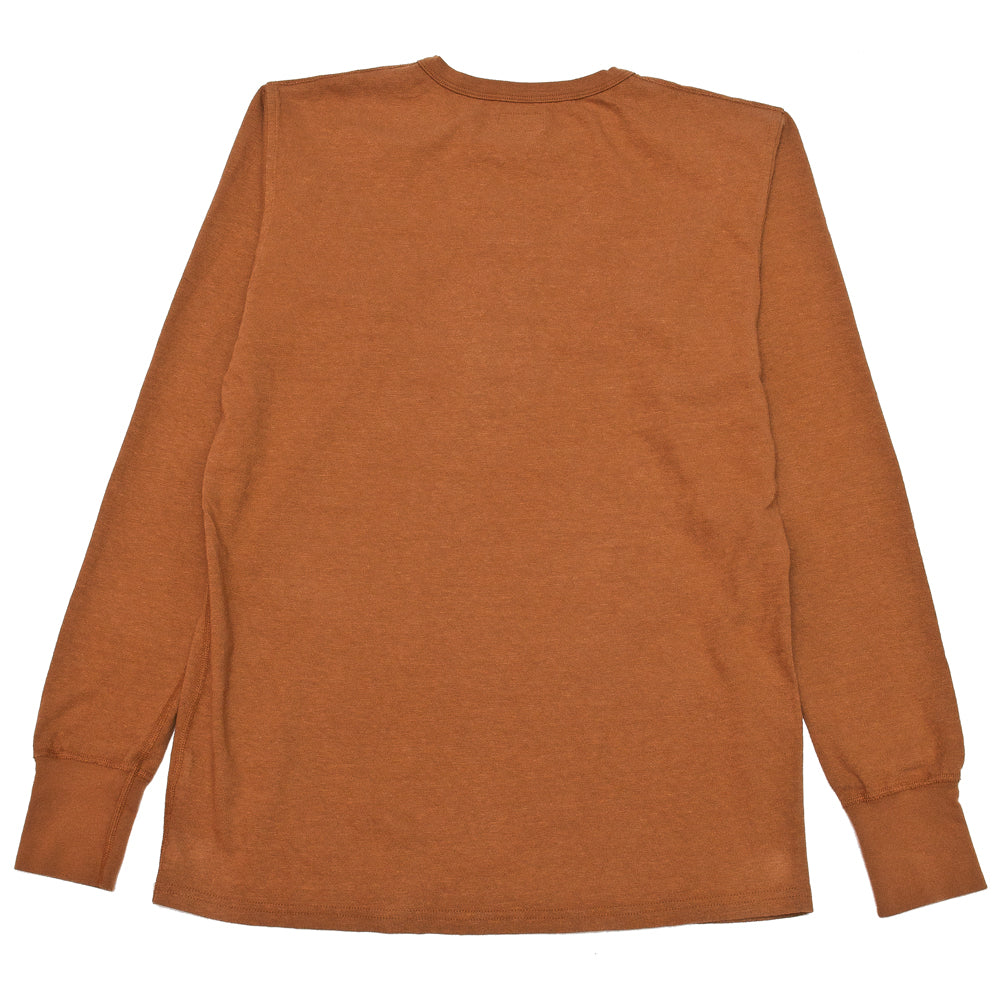 Homespun Long Sleeve Surplus Henley Zimbabwe Jersey Tobacco at shoplostfound, back