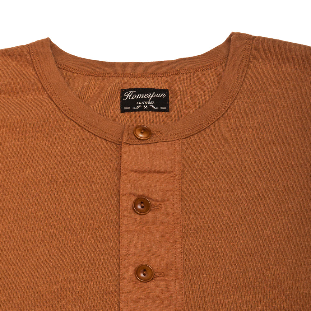 Homespun Long Sleeve Surplus Henley Zimbabwe Jersey Tobacco at shoplostfound, neck