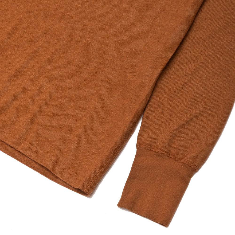 Homespun Long Sleeve Surplus Henley Zimbabwe Jersey Tobacco at shoplostfound, cuff