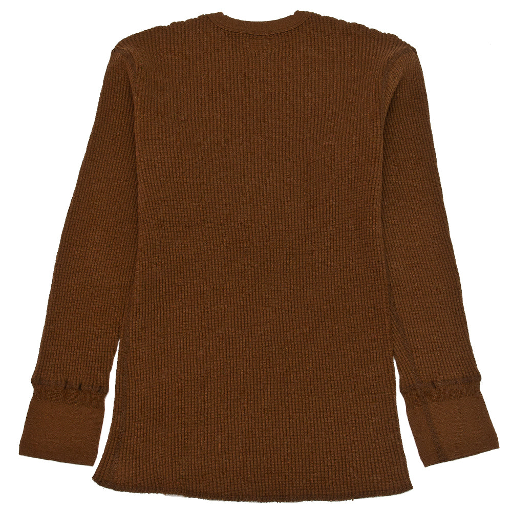 Homespun Thermal Crew Bulky Waffle Coffee at shoplostfound, back