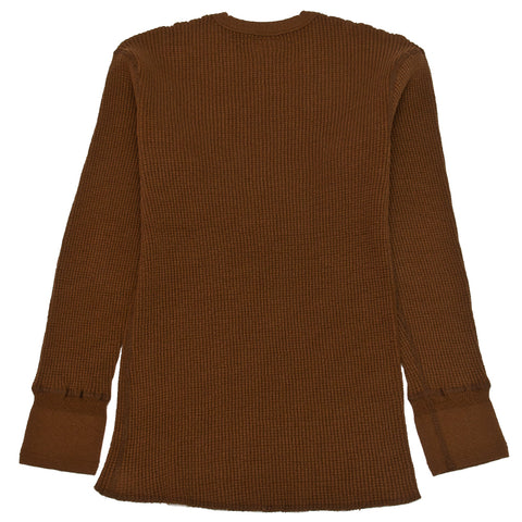 Homespun Thermal Crew Bulky Waffle Coffee at shoplostfound, front