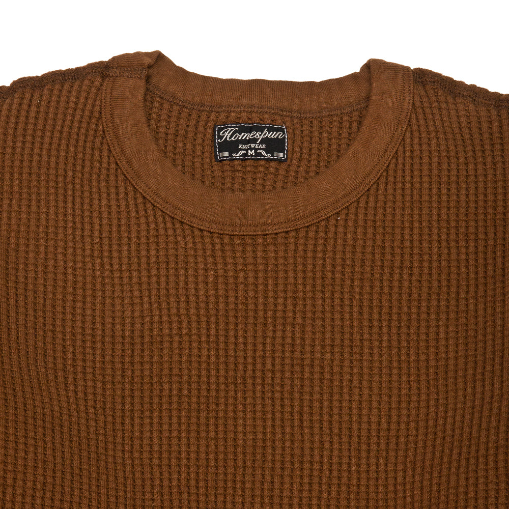 Homespun Thermal Crew Bulky Waffle Coffee at shoplostfound, neck