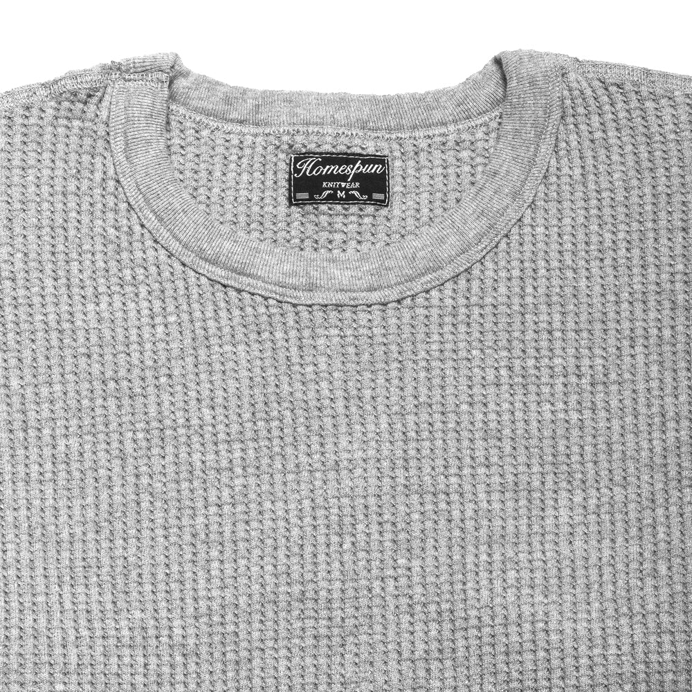 Homespun Thermal Crew Bulky Waffle Grey at shoplostfound, neck