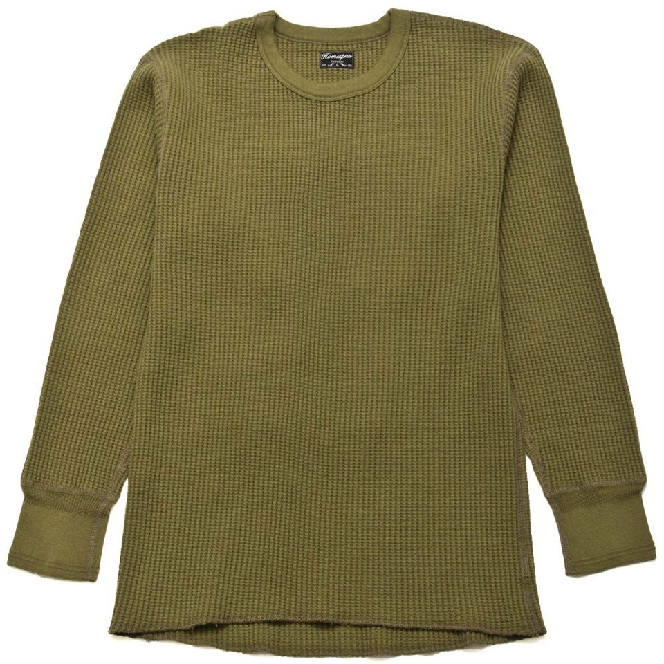 Homespun Thermal Crew Bulky Waffle Hunter Olive at shoplostfound, front