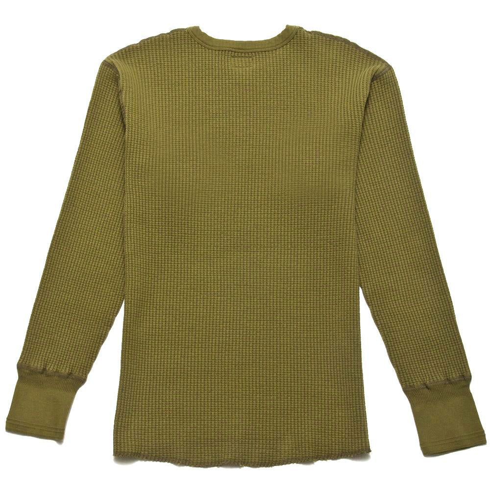 Homespun Thermal Crew Bulky Waffle Hunter Olive at shoplostfound, back
