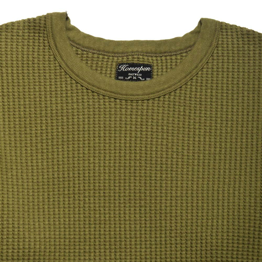 Homespun Thermal Crew Bulky Waffle Hunter Olive at shoplostfound, neck