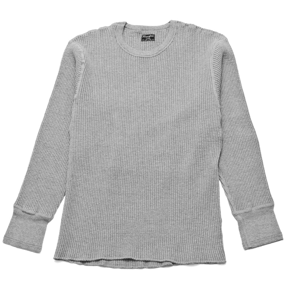 Homespun Thermal Crew Bulky Waffle Grey at shoplostfound, front