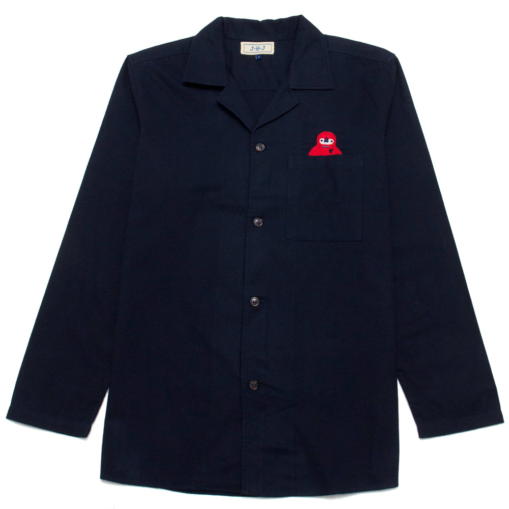 Jupe By Jackie Red Lopi Camp Collar Over Shirt Navy at shoplostfound, front